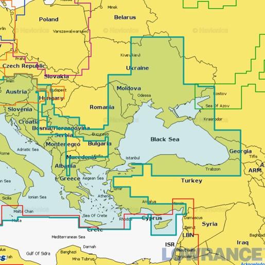 """Карта Navionics+ 43XG """"Река Днепр + Средиземное и Черное море"""""""